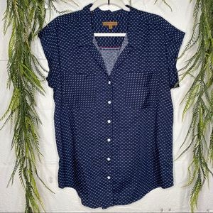 Jachs Girlfriend SS Printed Blue Button Up Shirt M